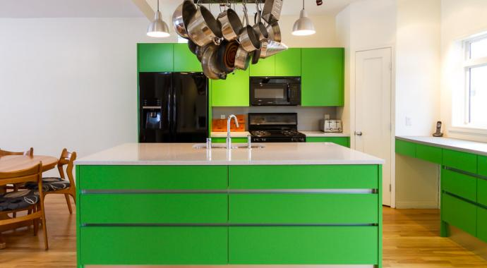 non-toxic aluminum cabinetry in bold and bright green apple