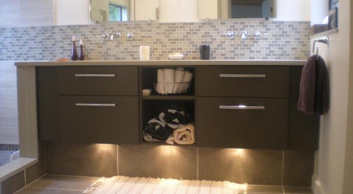dark brown warm aluminum vanity in spa bathroom pender island victoria bc