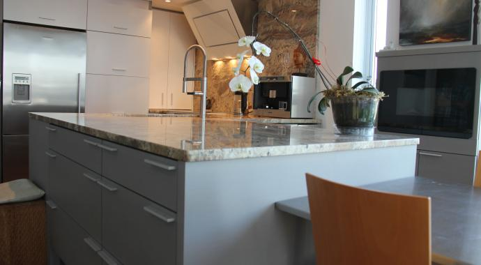 white and grey aluminum non-toxic sustainable cabinetry