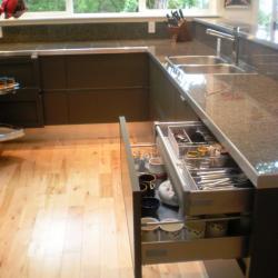 cuina alumini gris fosc non-toxic calaixos soft close, emmegatzematge calaix interior amagat