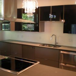 grey lower cabinets with high-gloss black upper cabinets Victoria BC