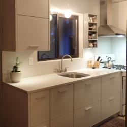 bone white aluminium galley kitchen