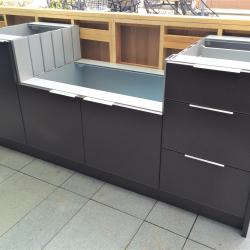 outdoor kitchen in chocolate brown powder coated aluminum before countertop