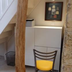 custom desk under stairs in white aluminum design by IMDesign