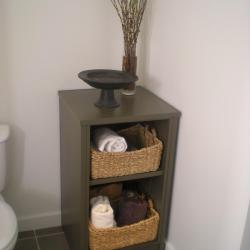 dark brown warm aluminum vanity in spa bathroom pender island victoria bc