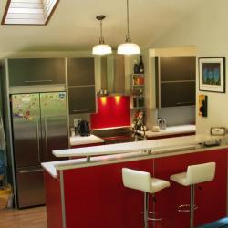 non-toxic sustainable aluminum kitchen in red by IMDesign