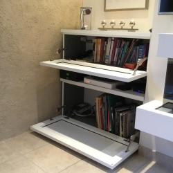 custom stereo and equipment cabinet in white aluminum