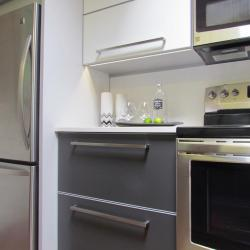 non-toxic sustainable aluminum kitchen in  Moonstone and bone white with silver highlights